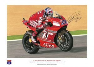 Casey Stoner on his Ducati Desmosedic - signed print