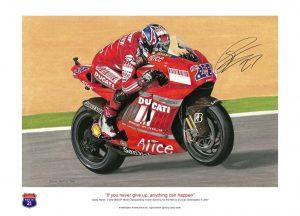 Casey Stoner on his Ducati Desmosedic - signed print