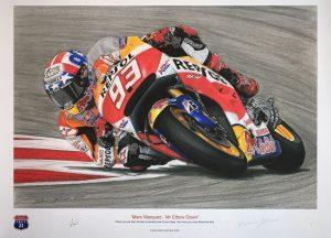 limited edition print of Marc Marquez on his World Championship Winning Repsol Honda HRC