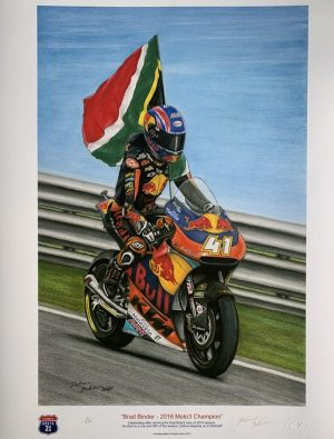 Brad Binder Pastel Drawing by Dietmar Bothner