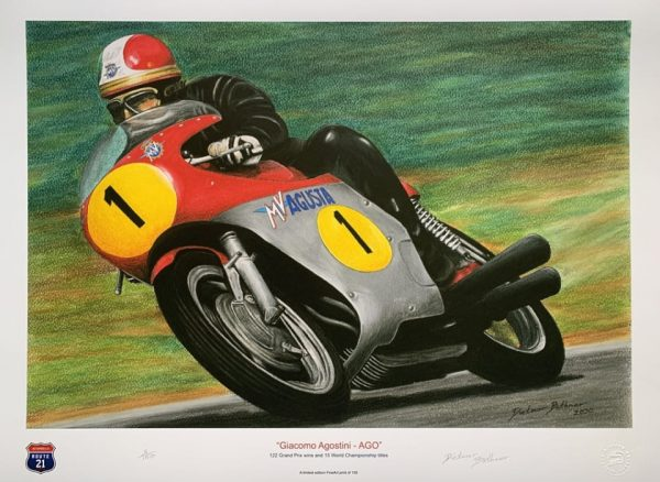 Giacomo Agostini Pastel Drawing By Dietmar Bothner