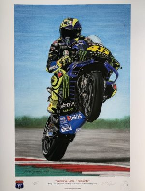 Valentino Rossi Pastel Drawing by Dietmar Bothner