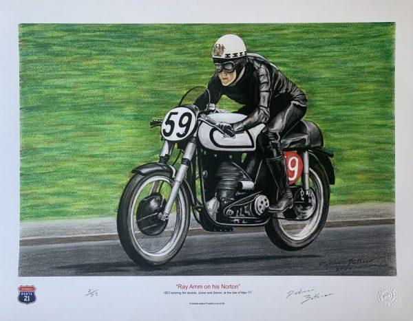 Ray Amm on his Norton winning the Isle of Man Pastel Drawing