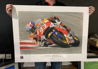 Marc Marquez signed print size perspective