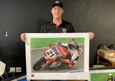 Troy Bayliss signed print size perspective